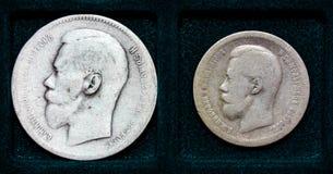 Russische Silbermünze 1 Rubel und 50 Kopeken Stockfotografie