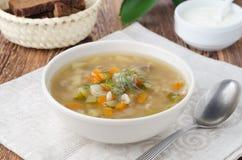 Russische soep rassolnik met kippenspiermagen en gerst Stock Foto's