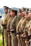 Russische Soldaten des ersten Weltkriegs ausgerichtet Lizenzfreie Stockfotos