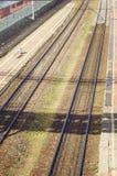 Russische spoorwegen Spoorwegsporen, hoogste mening stock foto