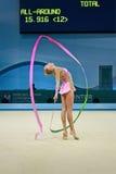 Russische sportman met lint, de Ritmische Kampioenschappen van de Gymnastiekwereld, Stock Afbeelding