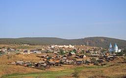 Russische stad Kyakhta op de grens met Mongolië Stock Afbeelding