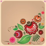 Russische stijl bloemenprentbriefkaar Stock Afbeelding