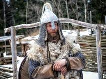 Russische strijder, 10de eeuw Portret Stock Foto's