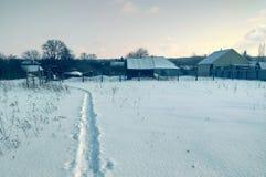 Russische traditionele architectuur Sneeuwval, bomen, hoog droog gras royalty-vrije stock foto's