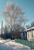 Russische traditionele architectuur Snow-covered takken van berken Stock Foto's