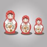 Russische traditionele matreshka (genestelde poppen) Royalty-vrije Stock Afbeelding