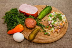Russische traditionele salade Olivier Royalty-vrije Stock Foto's