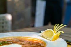 Russische traditionele vleessoep solyanka stock foto's