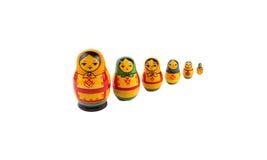 Russische traditionelle hölzerne Puppen Lizenzfreies Stockfoto