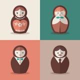 Russische van de poppenbruidegom en bruid huwelijkspictogrammen Stock Foto
