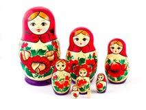 Russische Verschachtelungs-Puppen Babushkas oder matryoshkas Satz von 8 Stücken Lizenzfreie Stockfotografie