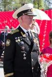 Russische veteraan bij de parade op jaarlijkse Victory Day Royalty-vrije Stock Fotografie