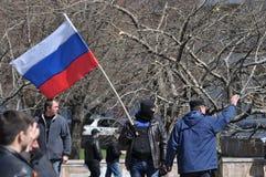 Russische vlag in Donetsk Royalty-vrije Stock Foto's