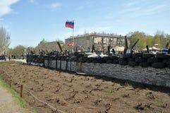 Russische vlag op barricades van separatisten Royalty-vrije Stock Foto
