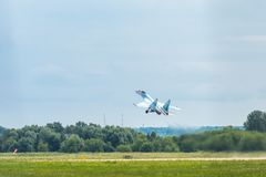 Russische vliegtuigvechter su-35 flanker-E Royalty-vrije Stock Foto's