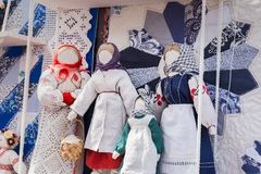 Russische voddenpoppen in etnische stijl royalty-vrije stock foto's