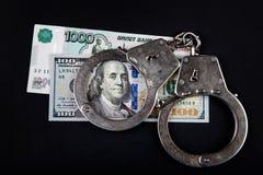 Russische Währung und Dollar stockfotografie