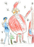 Russische Weihnachtscharaktere: Ded Moroz u. x28; Vater Frost u. x29; und Snegurochka u. x28; Schnee Maiden& x29; , children& x27 Lizenzfreie Stockfotos