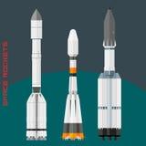 Russische Weltraumraketen eingestellt stockbilder