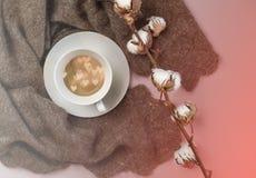 Russische wollen sjaal met kop van koffie met harten binnen en katoenen tak op kleur van de jaar 2019 het Leven Koraalachtergrond royalty-vrije stock afbeelding