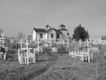 Russische zwart-witte kerk Stock Afbeeldingen