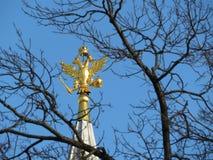 Russischer Adler auf den Turm auf rotem Quadrat in Moskau Nationales Emblem von Russland Stockbild