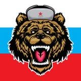 Russischer Bär Verärgerter Tierfleischfresser und Russland-Flagge lizenzfreie abbildung