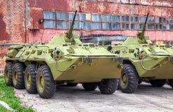 Russischer fahrbarer Mannschaftstransportwagen des gepanzerten Fahrzeugs der Armee BTR-80 Lizenzfreies Stockfoto
