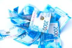 Russischer Geldbanknoten-Währungsrubel auf Weiß lokalisierte backgr stockfoto