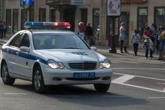 Russischer Polizeiwagennotfall Stockfotos
