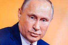 Russischer Präsident Vladimir Putin geben abschließende Medien Q&A Lizenzfreie Stockfotografie