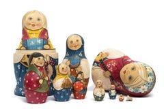 Russischer Puppen matrioshkas Lech gemalt und lokalisiert Lizenzfreie Stockfotos