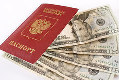 Russischer reisender Paß und Geld. Stockfotos