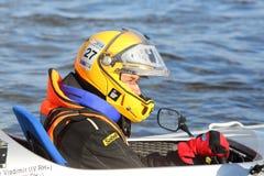 Russischer Sportler an Motorboot-Rennshow 2012 Lizenzfreies Stockbild