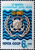 Russischer Stempel weihte Weltseetag, circa 1978 ein Stockbild