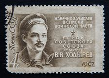 Russischer Stempel zeigt einen Helden von UDSSR Valentin Khodyrev Lizenzfreie Stockfotos