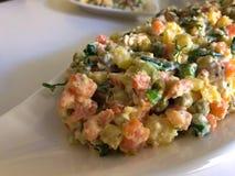 Russischer traditioneller Salat Olivier mit Gemüse und Fleisch Wintersalat lizenzfreies stockbild