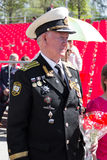 Russischer Veteran an der Parade auf jährlicher Victory Day Lizenzfreie Stockfotografie