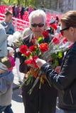 Russischer Veteran an der Parade auf jährlicher Victory Day Stockfotografie