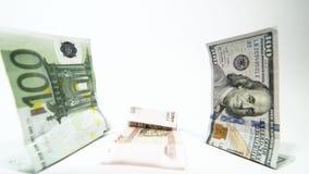 Russischer Währungsrubel, der vor Dollareuro fällt stock video
