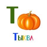 Russisches Alphabet, Buchstaben Vektorbild eines Kürbises Stockfotos