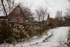 Russisches Dorf im Winter Stockfotografie