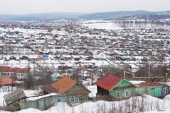 Russisches Dorf im Winter Lizenzfreies Stockbild