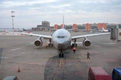 Russisches Flugzeug von Aeroflot Company in Moskau Lizenzfreie Stockfotos