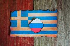 Russisches griechisches Flaggenkonzept stockfoto