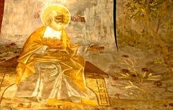 Russisches Ikonen-Wandbild-ikonographische Szene Jahrhundert des Orthodoxie-Kirchen-Freskos XVI Stockfotos