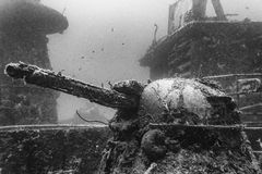 Russisches Kriegsschiff im Ruhezustand Stockfoto