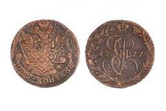 Russisches Kupfermünze 5 kopeks kopeyka 1777 Stockfoto