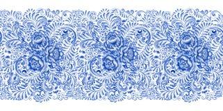 Russisches Malerei gzhel horizontales nahtloses Muster Stockbilder